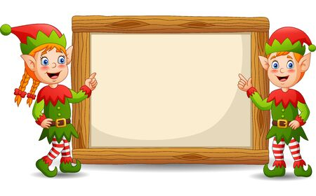 Cartoon elves with signboard your text. Illustration Фото со стока