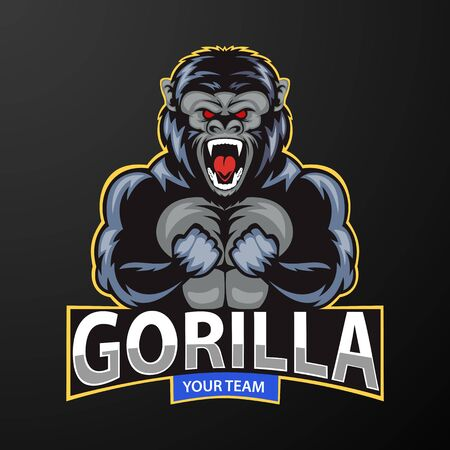Mascot a very angry gorilla, logo for a sport team. vector illustration