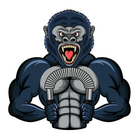 Mascot a strong gorilla performs an exercise with a power twister biceps. vector illustration