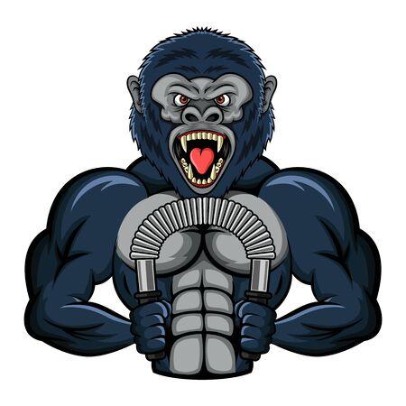Mascot un gorila fuerte realiza un ejercicio con un bíceps tornado de energía. ilustración vectorial