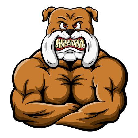 Maskottchen eine sehr starke Bulldogge mit großen Muskeln. Vektor-Illustration