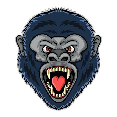 Mascota de cabeza de gorila enojado. Ilustración