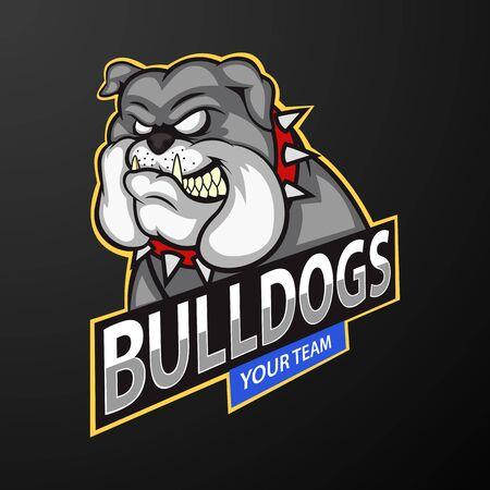 Bulldog wild animal head mascot, logo for a sport team. Illustration Foto de archivo