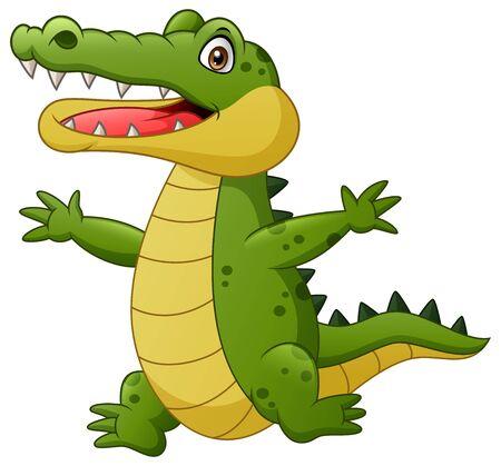 Cartoon crocodile happy. Vector illustration