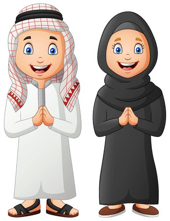 Cute arabic kids cartoon. Vector illustration Vector Illustratie