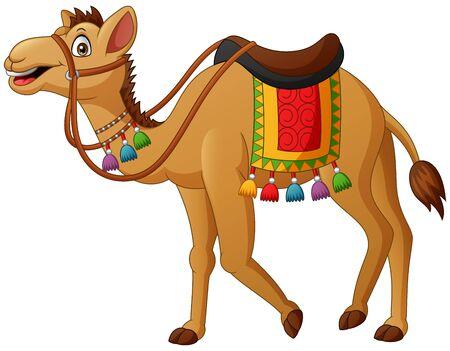 Cute camel cartoon with saddlery. Vector illustration
