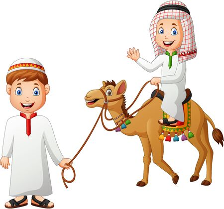 Arabic cartoon tour guide and kid riding a camel. Vector illustration