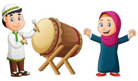 Cartoon happy girl and boy hitting mosque drum. Vector illustration Stock Illustratie