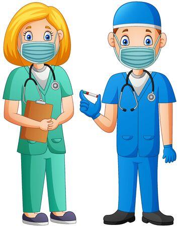 Cartoon doctor holding a vaccine. Vector illustration