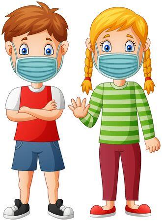 Children cartoon wear protective mask from virus. Vector illustration Stock Illustratie