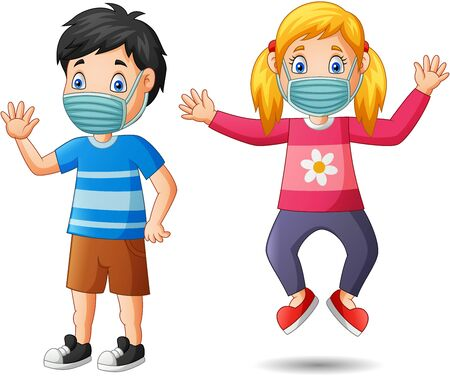 Happy children cartoon wear protective mask from virus. Vector illustration