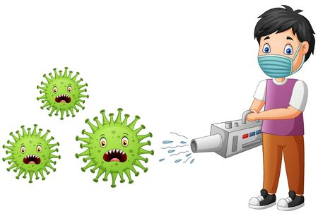 Cartoon boy eradicate the virus. Vector illustration