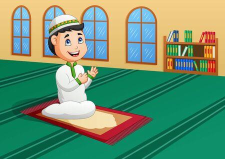 Muslim Kid Praying in Mosque. Vector illustration