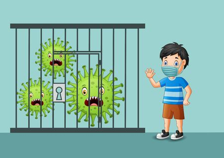 Vector illustration covid-19 coronavirus controlled or caught and happy boy Stock Illustratie