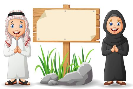 Arabic kids cartoon and blank wooden signs.Vector illustration