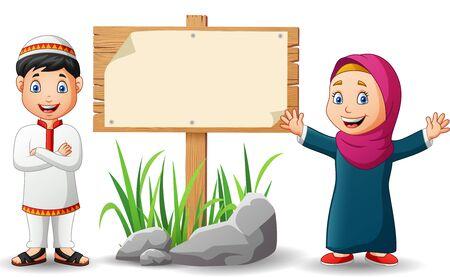 Muslim kids and blank wooden signs.Vector illustration Stock Illustratie