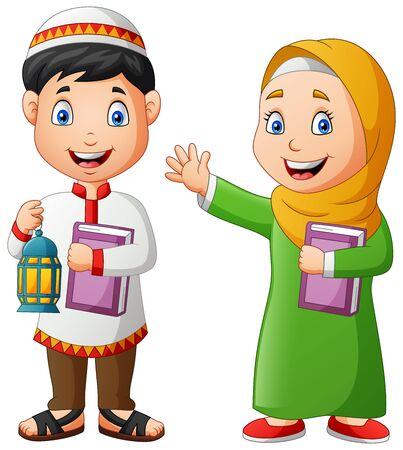 Two muslim kids carrying Ramadan Lanterns and al-quran. Vector illustration
