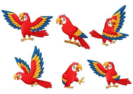 Set of funny parrot cartoon. Illustration Stockfoto
