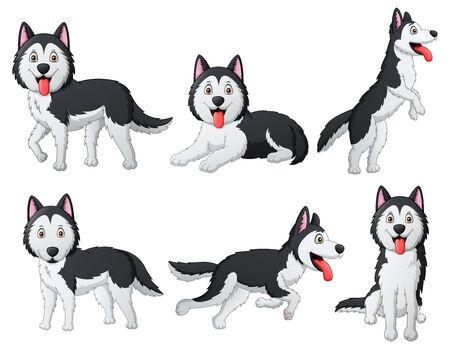 Set of funny siberian husky dog cartoon.Illustration