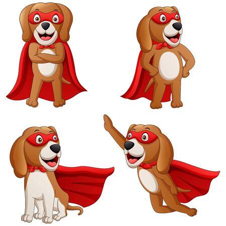 Superhero dog cartoon. Illustration