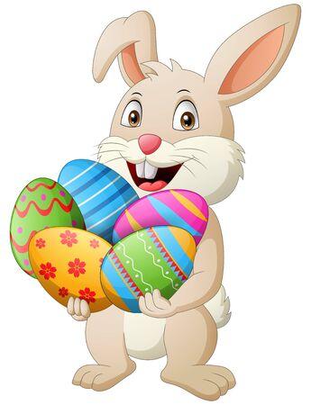 Cartoon rabbit holding easter eggs. Illustration