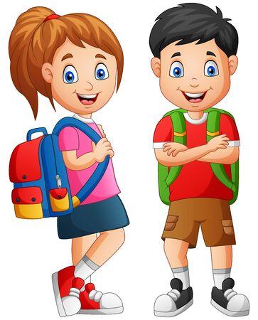 Cartoon school kid boy and girl. Illustration