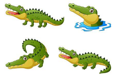 Set of funny crocodile cartoon. Illustration Stockfoto