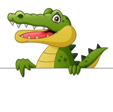 Crocodile cartoon with signboard. Illustration Stockfoto