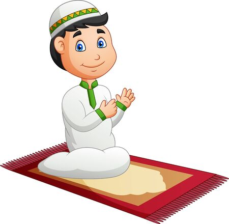 muslim boy praying. Illustration Stockfoto