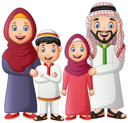 Happy muslim family cartoon. Illustration