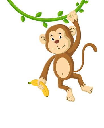 Cute cartoon monkey holding banana. Vector illustration Stock Illustratie