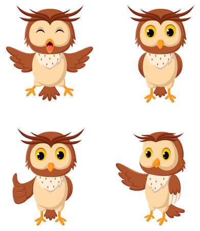 Cartoon owl different expressions. Vector illustration Stock Illustratie