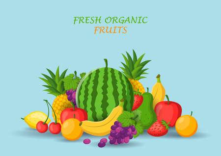 Fresh organic fruits concept. Vector illustration