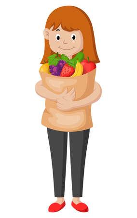 Happy cartoon girl carrying fruit. Vector illustration