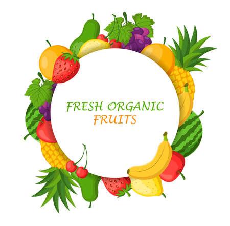 Fresh organic fruits isolated on white background concept. Vector illustration Stock Illustratie