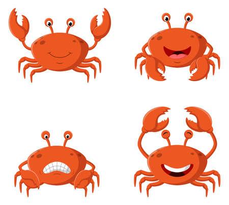 Cute cartoon crab different expression. Vector illustration