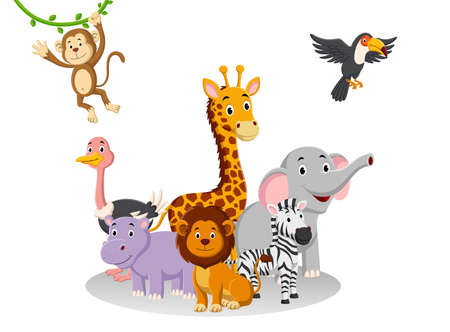 Cartoon collection animal in the jungle. Vector illustration