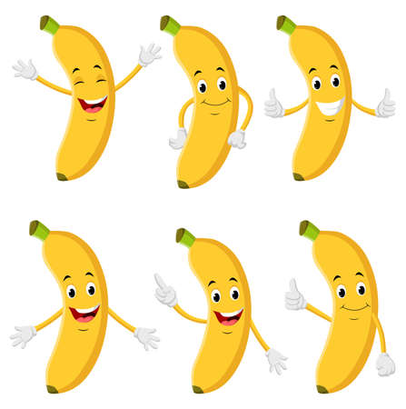 Collection of banana characters in different expressions, Funny fruit cartoon. Illustration