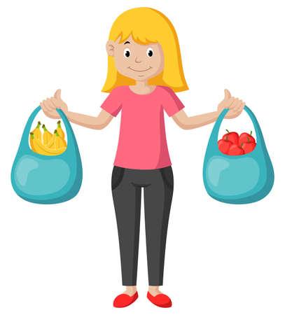 Cartoon girl shopping carrying fruit. Illustration