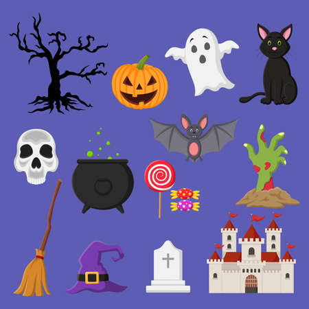 Set of Halloween related objects and creatures icons. Illustration