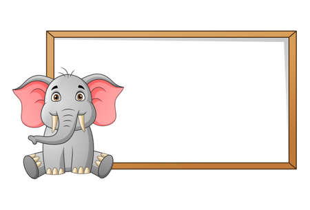Cute elephant cartoon and blank signboard for your text. Vector illustration