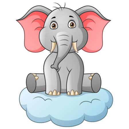 Cartoon elephant sitting on cloud. Vector illustration