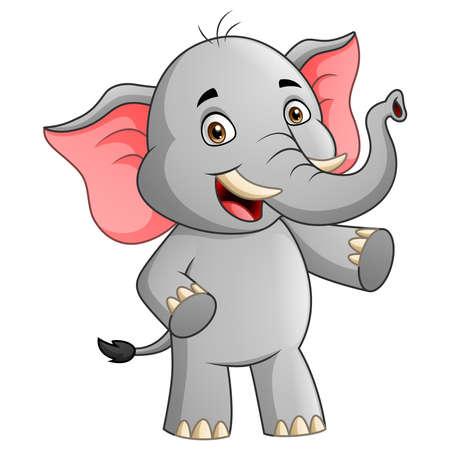 Cute elephant cartoon character. Vector illustration