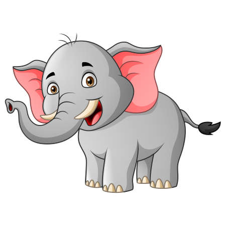 Cartoon elephant smile. Vector illustration