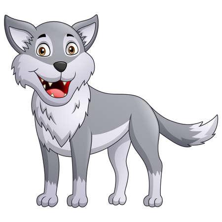 Cute wolf cartoon. Vector illustration