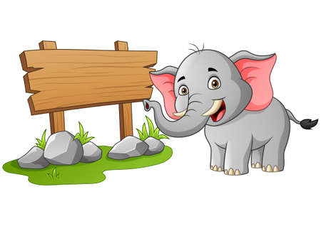 Cute elephant and wooden sign for your text. Vector illustration