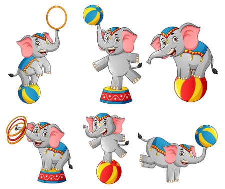 Set of cute circus elephant cartoon. Vector illustration