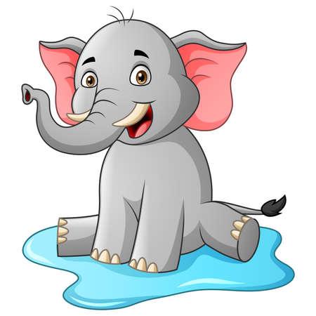 Cute elephant cartoon. Vector illustration