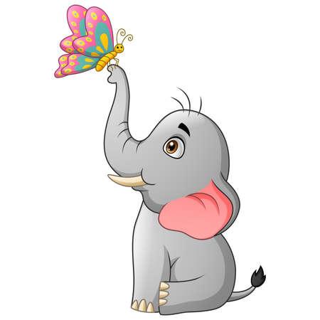 Cute elephant cartoon with butterfly. Vector illustration