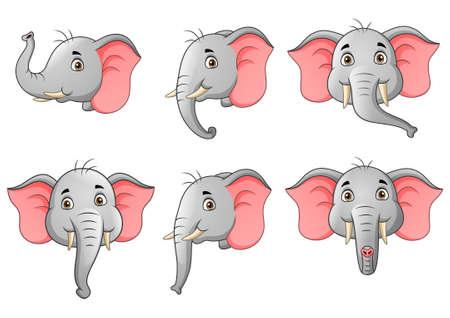 set of elephant head character cartoon. Vector illustration